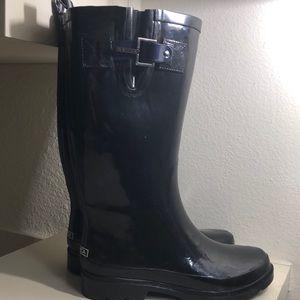 Nautica Rubber Rain Boots Size 7 black blue